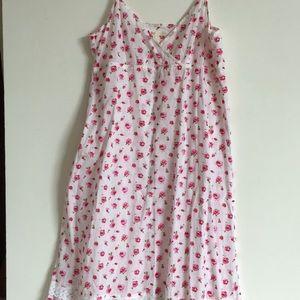 Free people pink flower ruffle dress thin straps